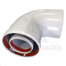 Коліно коаксіального димоходу Ø 60/100 мм. AL-Fe. 90 ° (м-g)