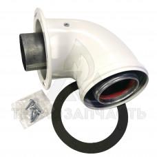 Установче коліно димоходу (стартовий кут) Ø 60/100 мм. (розтруб-фланець)